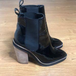 Aldo Black Patten leather Boots Size 7.5